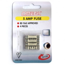 Omega 21135 5amp Mains Fuses – Pack of 4