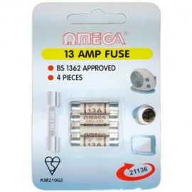 Omega 21136 13amp Mains Fuses – Pack of 4