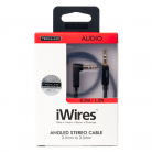 Techlink 710018 iWires 3.5mm Stereo Plug to Right Angled 3.5mm Stereo Plug - 0.5m