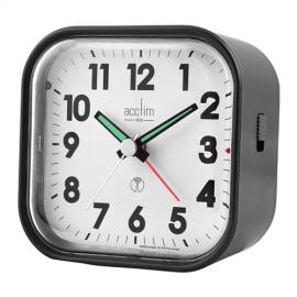 acctim Hudson Radio Controlled Metallic Black Alarm Clock