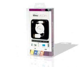 Techlink 726260 WiresMEDIA USB2 A Plug to USB2 5 Pin Mini Plug Retractable Cable, Length: 1m
