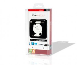 Techlink 726363 WiresMEDIA 3.5mm to 3.5mm Stereo Plug Retractable Cable - 1m