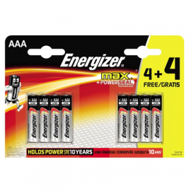 Energizer Max AAA LR03 Alkaline Batteries 4+4 Free Promo Pack