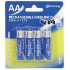 Mercury AA Size - 1300mA NiMH Rechargeable Batteries