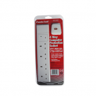 Red/Grey Surge Protected 4 Gang 2m