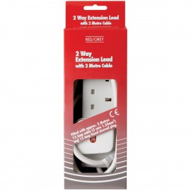 Red/Grey 2 gang - 13A x 2m lead - White (Boxed)