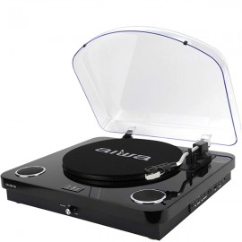 AIWA 3-Speed Turntable System with Built in Speakers, Bluetooth, FM Radio - Black