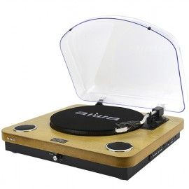 AIWA 3-Speed Turntable System with Built in Speakers, Bluetooth, FM Radio - Wood