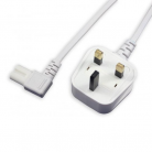 White Fig 8 Mains Lead with Right Angled Connector - 1.9m (1.9m - 5m lengths available)