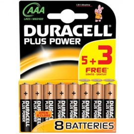 Duracell AAA Size - MN2400 Plus Range 5 + 3 Free Pack