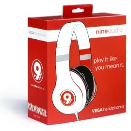 nine audio NAV-101W Vega Headphones White & Red