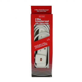 Red/Grey 4 gang - 13A x 5m lead - White (Boxed)