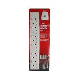 Red/Grey Switched 6 gang - 13A x 2m lead - White (Boxed)