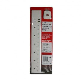 Red/Grey Surge Protected + Phone 6 gang - 13A x 2m lead - White (Boxed)