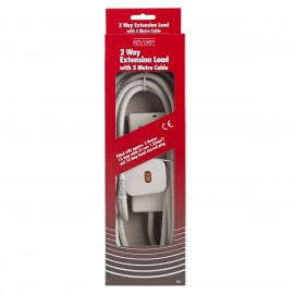 Red/Grey 2 gang - 13A x 5m lead - White (Boxed)