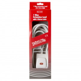 Red/Grey 1 gang - 13A x 5m lead - White (Boxed)