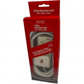 Red/Grey 2 gang - 13A x 3m lead - White (Boxed)