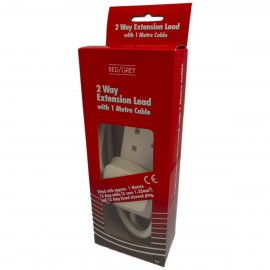 Red/Grey 2 gang - 13A x 1m lead - White (Boxed)