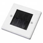 WPB50 White Single Flush Outlet with Black Brushes