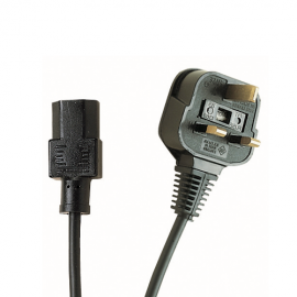Electrovision 5A 3 Pin UK to IEC Black Mains Lead - 2m (2m - 5m lengths available)