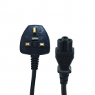 Electrovision 5A 3 Pin UK to Cloverleaf Black Mains Lead - 2m (2m - 5m lengths available)