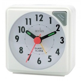 acctim Ingot Quartz Travel Alarm Clock - White