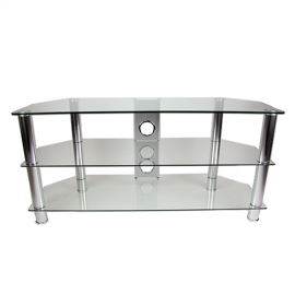 TTAP CC303/1050 Classik TV Stand - Clear Glass & Chrome (Castors Available)