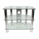 TTAP CC303/600 Classik TV Stand - Clear Glass & Chrome (Castors Available)