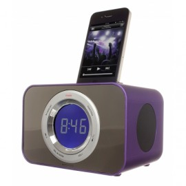 KitSound CLOCKDPU iPod Clock Radio Dock - Purple