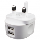 iSix IS19P AC USB Charger 2.4amp with 2 Outputs, White