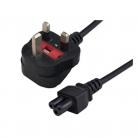 UK Moulded Plug / Clover Leaf Connector - Black