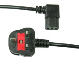IEC Mains Lead 5amp with Right Angle Plug - 1.9m (1.9m - 5m lengths available)
