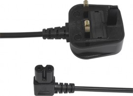 Black Fig 8 Mains Lead with Right Angled Connector - 1.9m (1.9m - 5m lengths available)