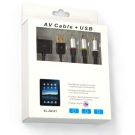 Composite AV Video to TV RCA Cable USB Charger for iPod, iPad, iPhone 4, Black