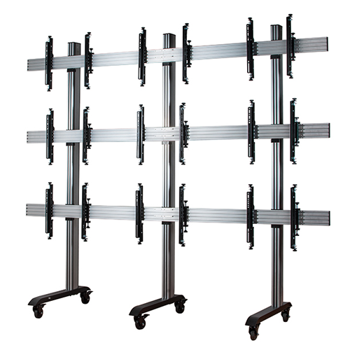 B Tech System X Universal Mobile Video Wall Stand For 3x3 Walls 46