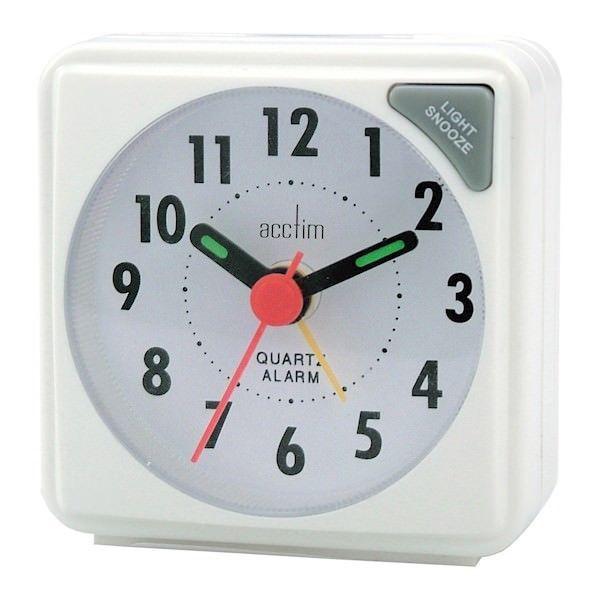 Acctim Ingot Travel Alarm Clock White by Acctim